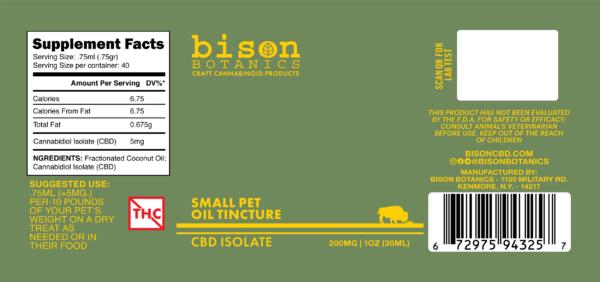 Label for Bison Botanics' 200mg Pet CBD Oil