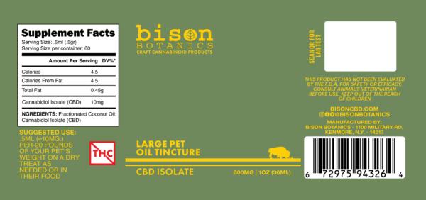 Label for Bison Botanics' 600mg Pet Oil Tincture